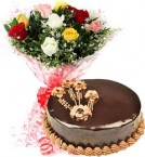 send 1Kg Eggless Chocolate Traffle Cake N Mix Roses Bouquet delivery