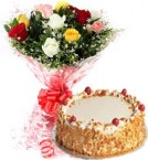 send 1Kg Eggless Butterscotch Cake N Mix Roses Bouquet delivery