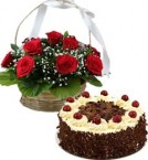 send 1Kg Eggless Black Forest N Red Roses Basket delivery