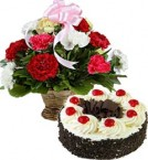 send Black Forest Cake Half Kg n Carnations Basket delivery