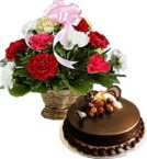 send Chocolate Truffle Cake Half Kg n Carnations Basket delivery