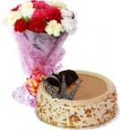 send Eggless Butterscotch Cake Half Kg N Carnations Bouquet delivery
