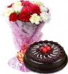 send Eggless Chocolate Truffle Cake Half Kg N Carnations Bouquet delivery