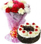 send Eggless Black Forest Cake Half Kg N Carnations Bouquet delivery