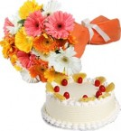 send Eggless Pineapple Cake Half Kg N Gerberas Bouquet delivery