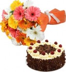 send Eggless Black Forest Cake Half Kg N Gerberas Bouquet delivery
