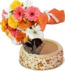 send Eggless Butterscotch Cake Half Kg N Gerberas Bouquet delivery