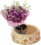send Eggless Butterscotch Cake Half Kg N Orchids Bouquet delivery
