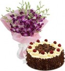 send Eggless Black Forest Cake Half Kg N Orchids Bouquet delivery