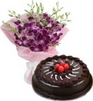 send Eggless Chocolate Truffle Cake Half Kg N Orchids Bouquet delivery