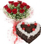 send Heart Shape Black Forest Cake 1Kg Eggless N Red Red Roses Bouquet delivery