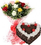 send Heart Shape Black Forest Cake 1Kg Eggless N Mix Roses Bouquet delivery
