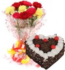 send Heart Shape Black Forest Cake 1Kg Eggless N Carnations Bouquet delivery