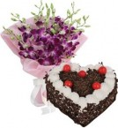 send Heart Shape Black Forest Cake 1Kg Eggless N Orchids Bouquet delivery