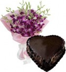 send Heart Shape Chocolate Truffle Cake 1Kg Eggless N Orchids Bouquet delivery