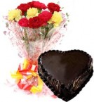 send Heart Shape Chocolate Truffle Cake 1Kg Eggless N Carnations Bouquet delivery
