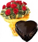send Heart Shape Chocolate Truffle Cake 1Kg Eggless N Red Roses Bouquet delivery