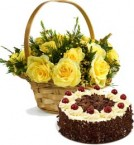 send Eggless Black Forest Cake Half Kg N Yellow Roses Busket delivery