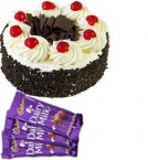 send Eggless Black Forest Cake Half Kg N Chocolate Gifts delivery