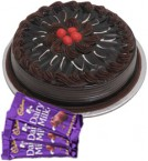 send Eggless Chocolate Truffle Cake Half Kg N Chocolate Gifts delivery