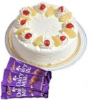 send Eggless Pineapple Cake Half Kg N Chocolate Gifts delivery