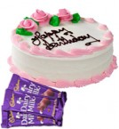 send Eggless Strawberry Cake Half Kg N Chocolate Gifts delivery