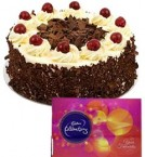 send Eggless Black Forest Cake Half Kg N Cadbury Celebrations Gift delivery