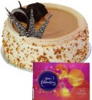 send Eggless Butterscotch Cake Half Kg N Cadbury Celebrations Gift delivery