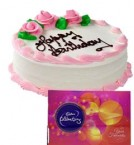 send Eggless Strawberry Cake Half Kg N Cadbury Celebrations Gift delivery