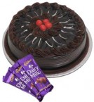 send Eggless Chocolate Traffle Cake 1Kg N Chocolate Gifts delivery
