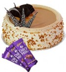 send Eggless Butterscotch Cake 1Kg N Chocolate Gifts delivery