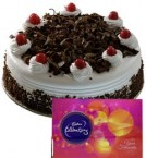 send 1Kg Eggless Black Forest  Cake N Chocolate Gifts delivery