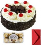 send Just Eggless Black Forest Cake Half Kg with ferrero rocher chocolate  delivery