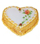 send 1Kg Eggless Heart Shape Butterscotch Cake delivery