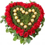 send Heart Shape Arrangements  of Roses n Ferrero Rocher Chocolates  delivery