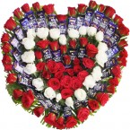 send Heart Shape Arrangements of Roses n Cadbury Dairy Milk Chocolates  delivery