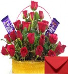 send Basket Arrangement of Red Roses n Cadbury Dairy Milk Chocolates  delivery