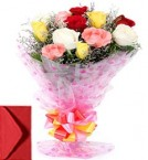 send 10 Mix Roses Bouquet  delivery
