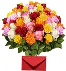 send 40 Mix Roses Bouquet delivery