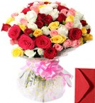 send 50 Mix Roses Bouquet delivery