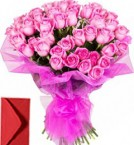 send 50 Pink Roses Bouquet delivery