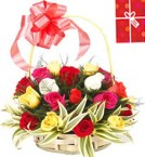 send 25 Mix Roses Basket delivery