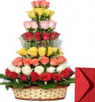 send Red Pink Yellow White Orange Roses Basket delivery