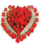 send Heart Shaped Arrangement of 50 Red Roses delivery