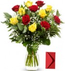 send 12 Red Yellow Roses  delivery