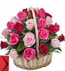 send 20 Red Pink Roses Basket Gift delivery