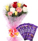 send Mix Roses Bouquet n Chocolate delivery