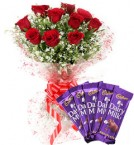 send Red Roses Bouquet n Chocolate delivery