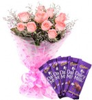 send Pink Roses Bouquet n Chocolate delivery