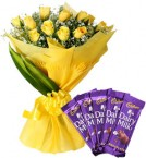 send Yellow Roses Bouquet n Chocolate delivery